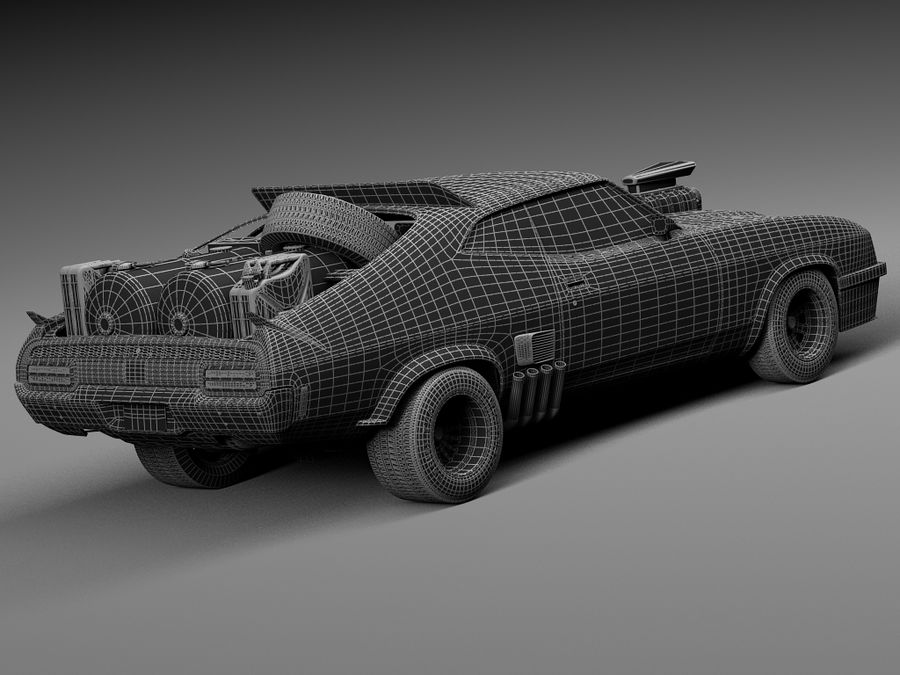 Mad Max Interceptor movie car royalty-free 3d model - Preview no. 18
