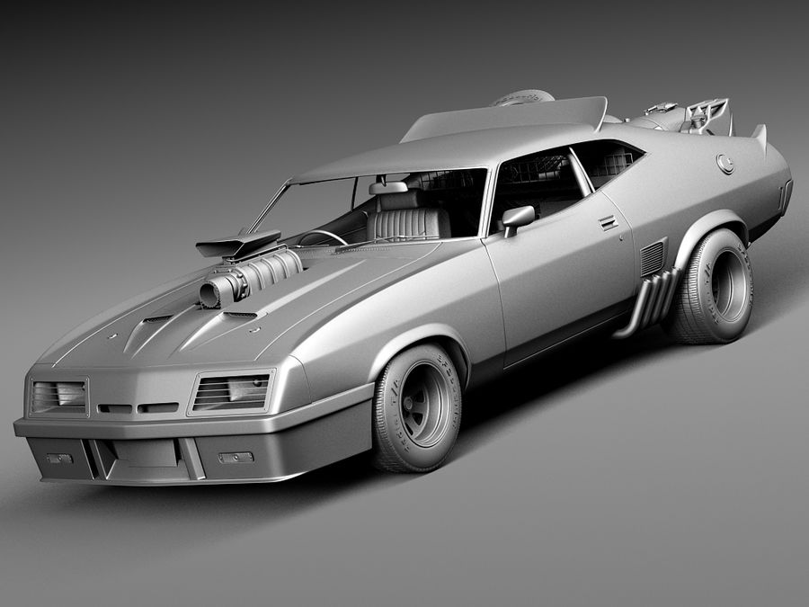 Mad Max Interceptor movie car royalty-free 3d model - Preview no. 11