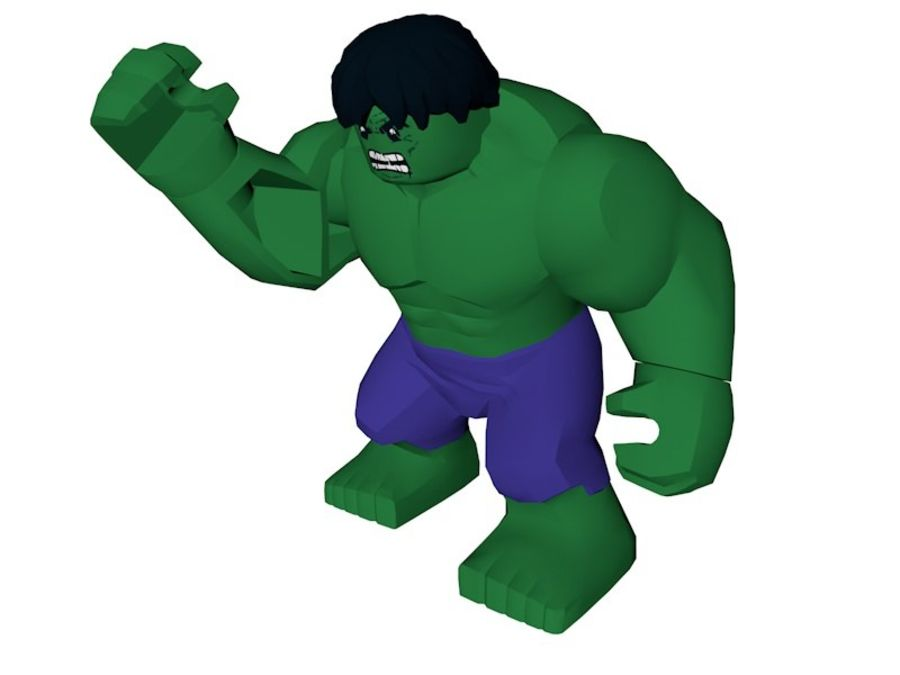 LEGO Hulk Figure royalty-free 3d model - Preview no. 4
