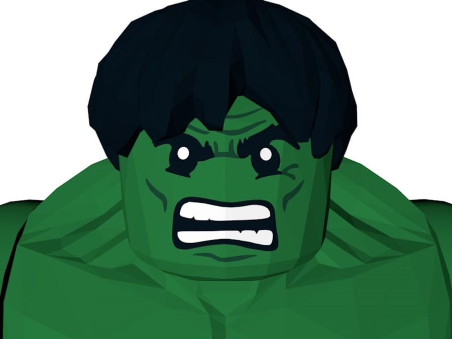 LEGO Hulk Figure royalty-free 3d model - Preview no. 5