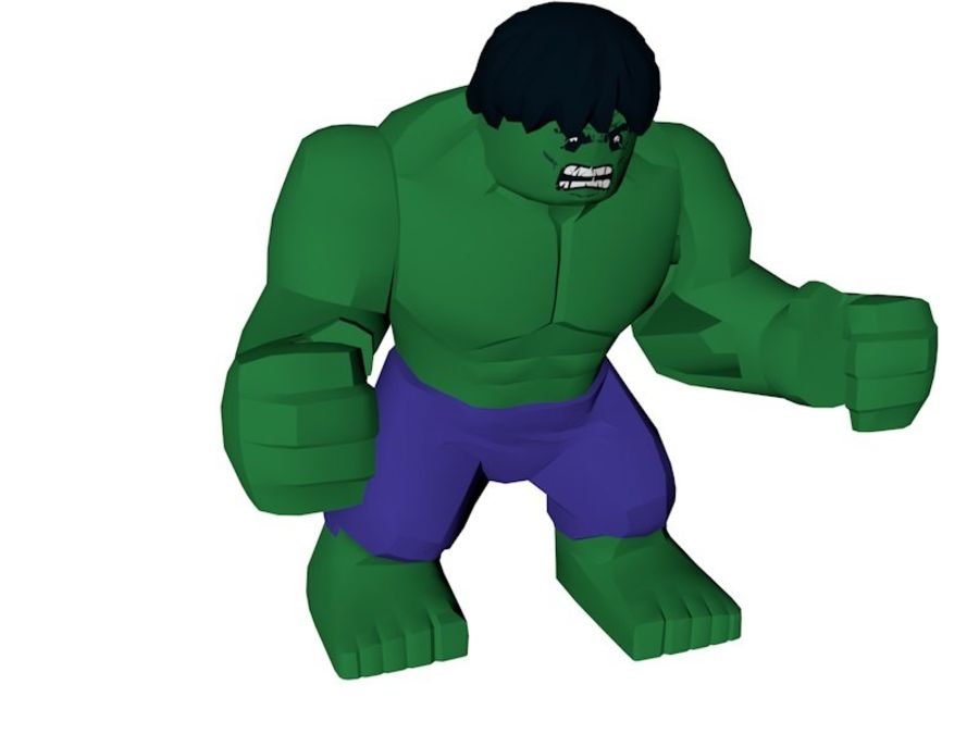 LEGO Hulk Figure royalty-free 3d model - Preview no. 2