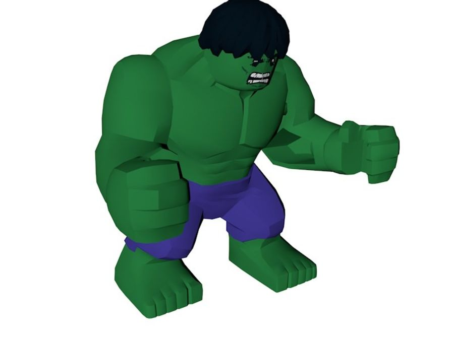 LEGO Hulk Figure royalty-free 3d model - Preview no. 3