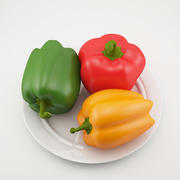 Peppers on plate 3d model