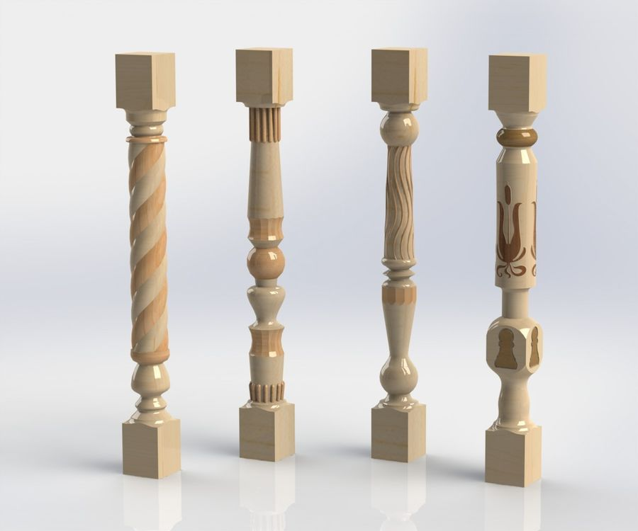 carved wooden baluster royalty-free 3d model - Preview no. 11