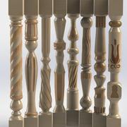 carved wooden baluster 3d model