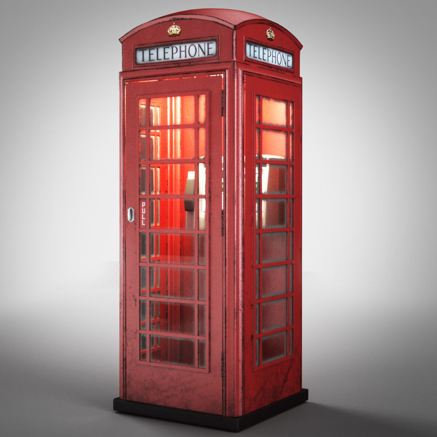 London Telephone Booth royalty-free 3d model - Preview no. 5