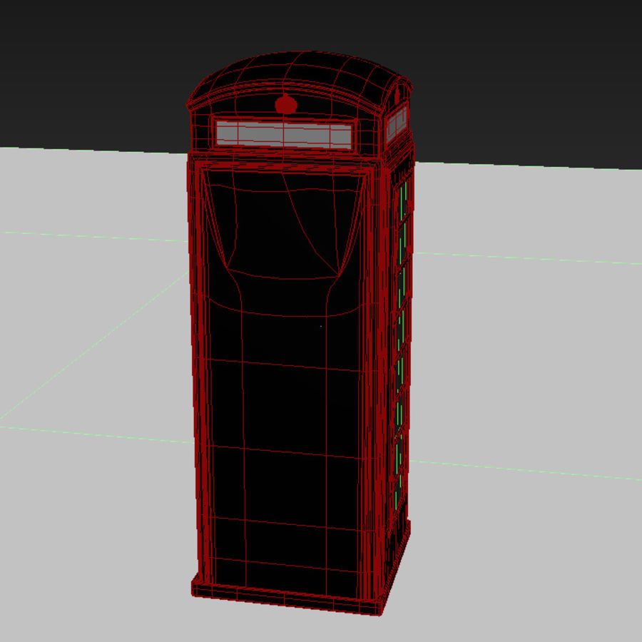 London Telephone Booth royalty-free 3d model - Preview no. 10