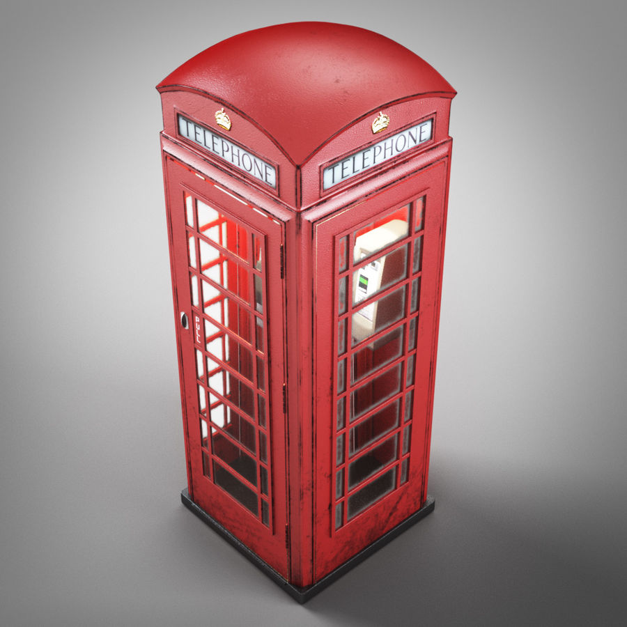 London Telephone Booth royalty-free 3d model - Preview no. 2
