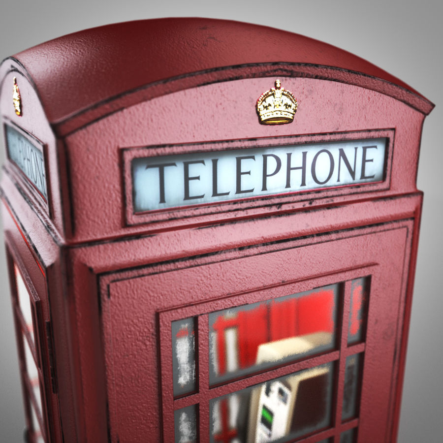 London Telephone Booth royalty-free 3d model - Preview no. 6