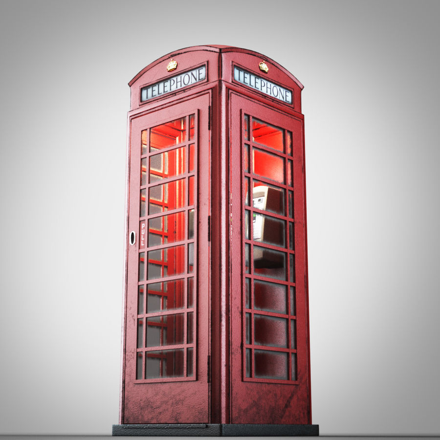 London Telephone Booth royalty-free 3d model - Preview no. 3