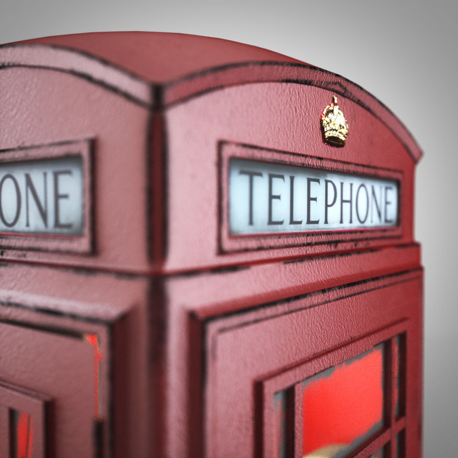London Telephone Booth royalty-free 3d model - Preview no. 4