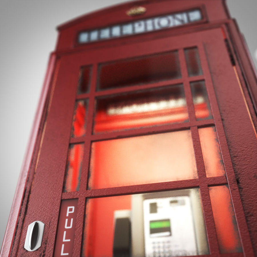 London Telephone Booth royalty-free 3d model - Preview no. 8