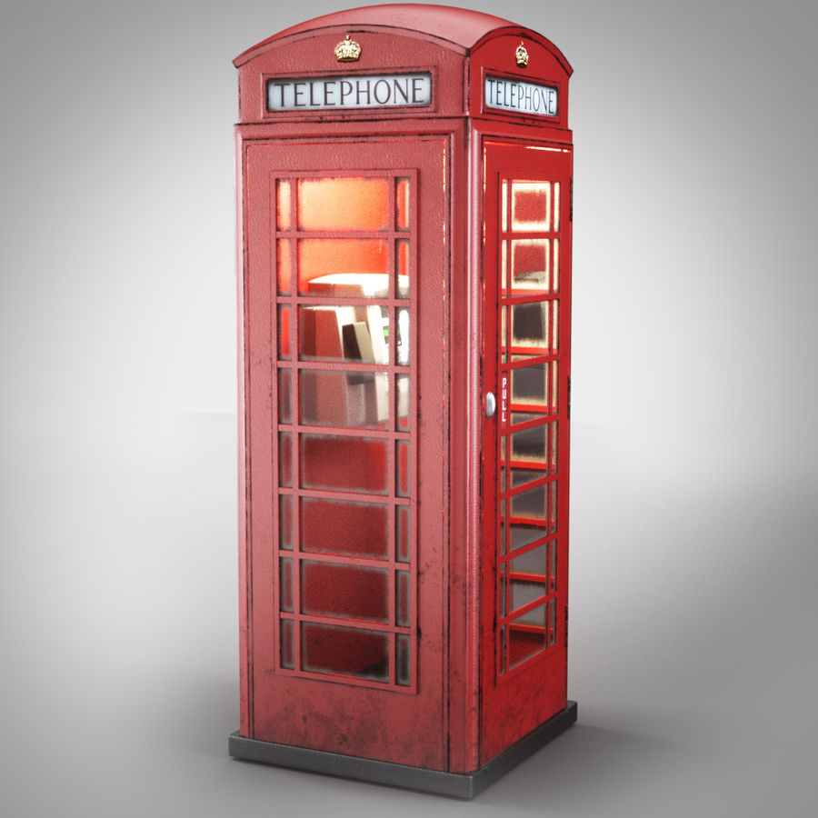 London Telephone Booth royalty-free 3d model - Preview no. 1