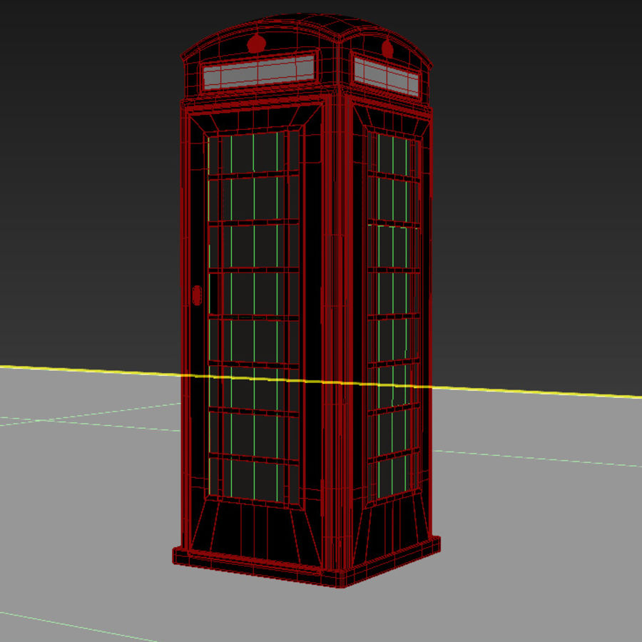 London Telephone Booth royalty-free 3d model - Preview no. 12