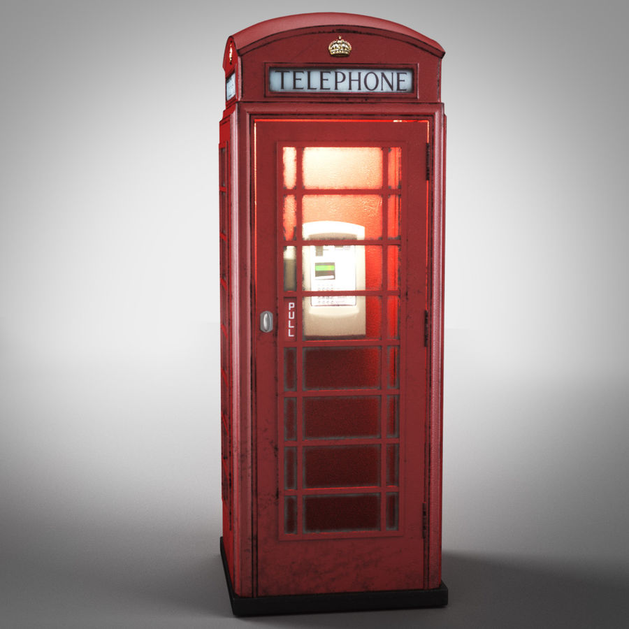 London Telephone Booth royalty-free 3d model - Preview no. 7