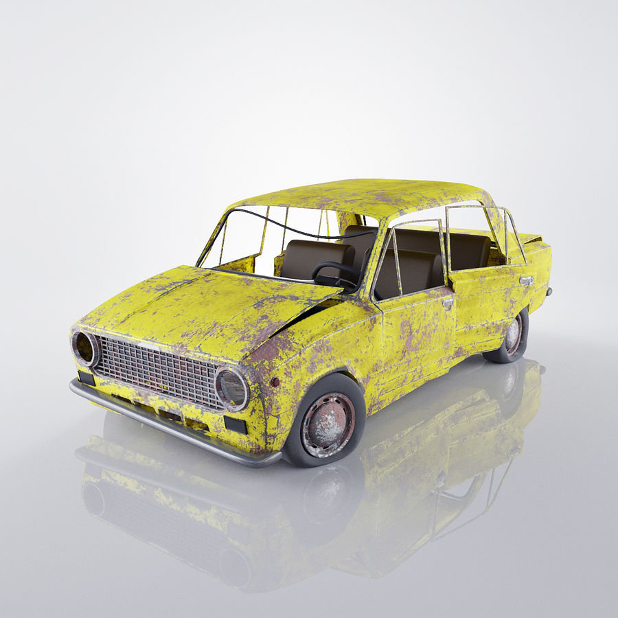 VAZ 2101 Rusty royalty-free 3d model - Preview no. 2