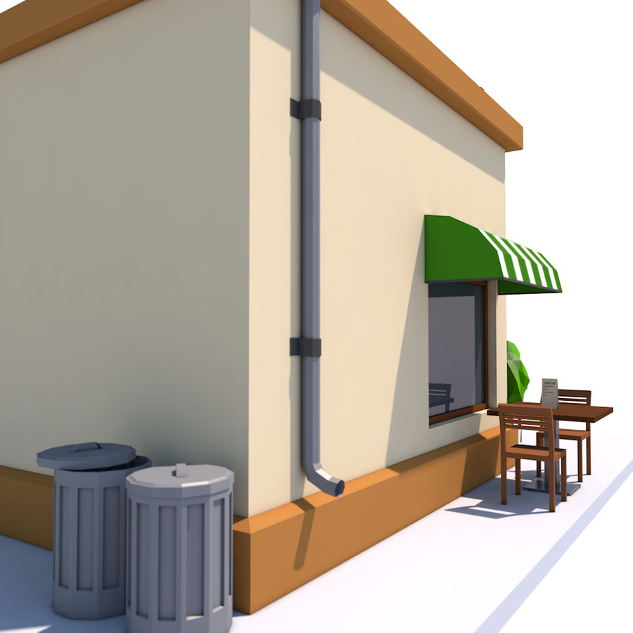 Low Poly Coffee House royalty-free 3d model - Preview no. 6