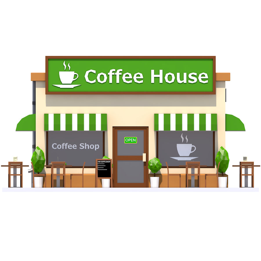 Low Poly Coffee House royalty-free 3d model - Preview no. 9