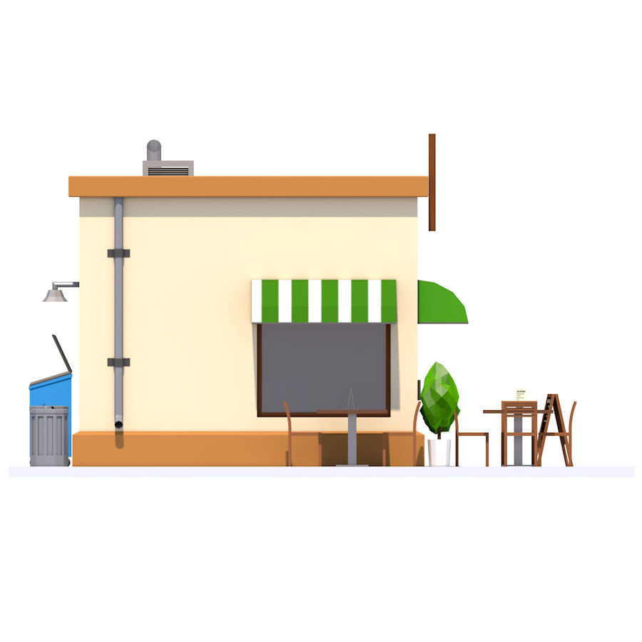 Low Poly Coffee House royalty-free 3d model - Preview no. 10