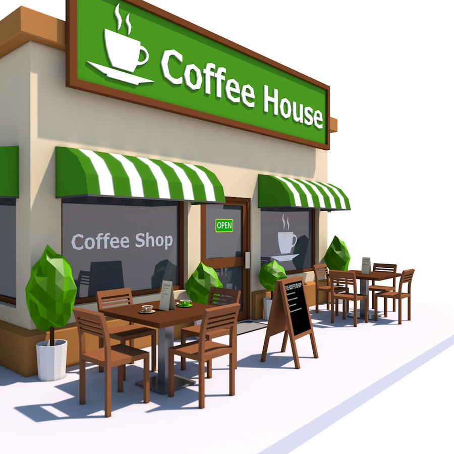 Low Poly Coffee House royalty-free 3d model - Preview no. 1