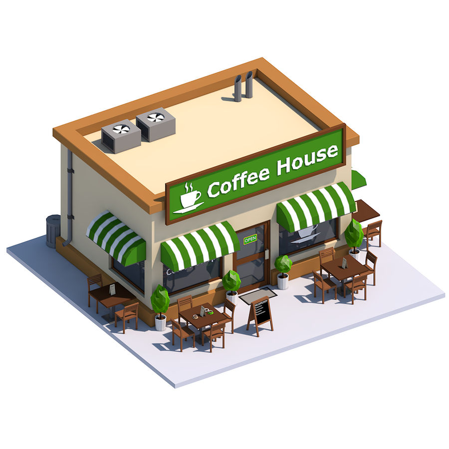 Low Poly Coffee House royalty-free 3d model - Preview no. 2
