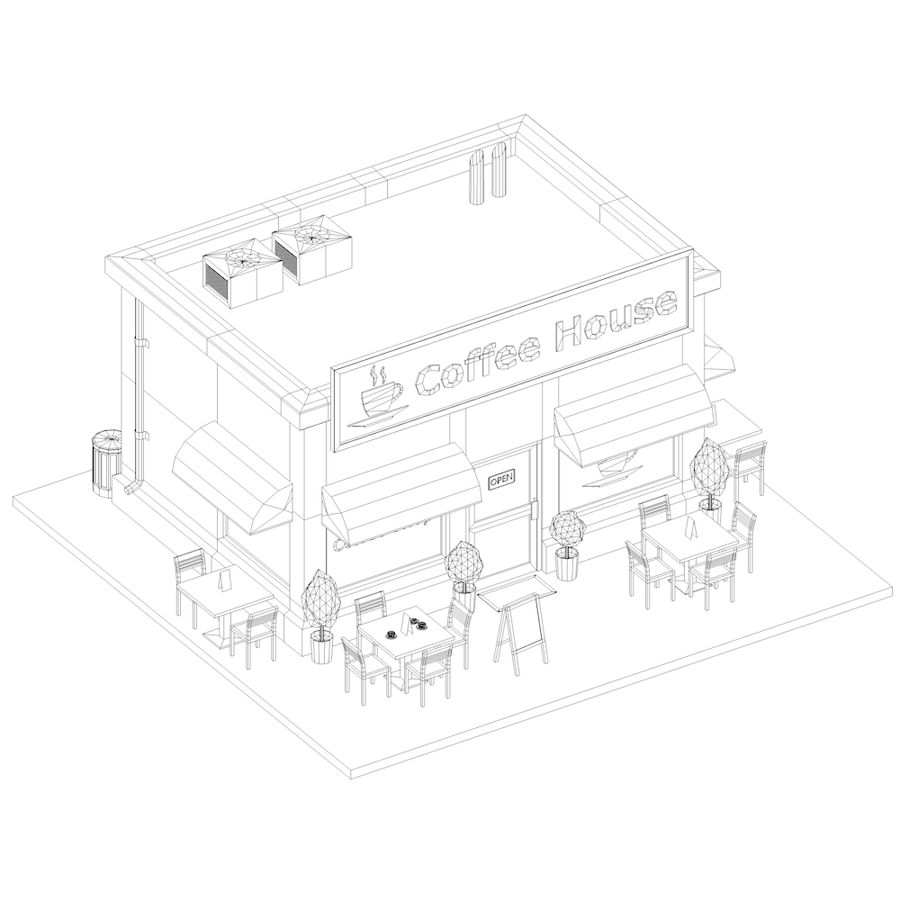 Low Poly Coffee House royalty-free 3d model - Preview no. 11