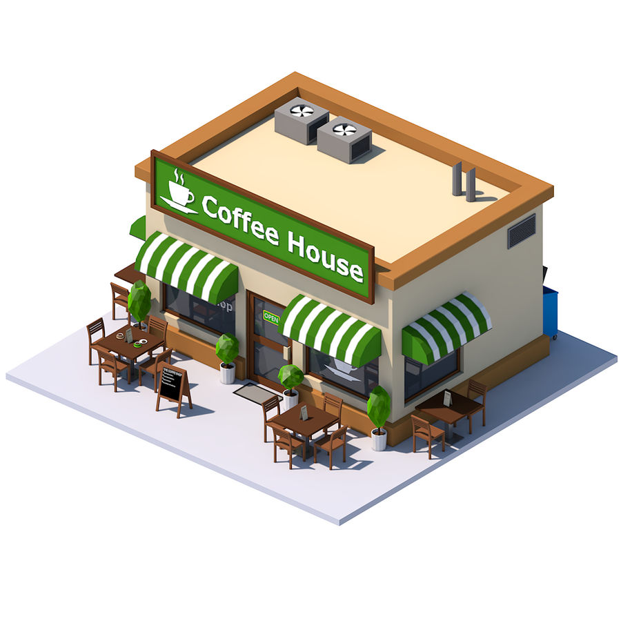 Low Poly Coffee House royalty-free 3d model - Preview no. 3