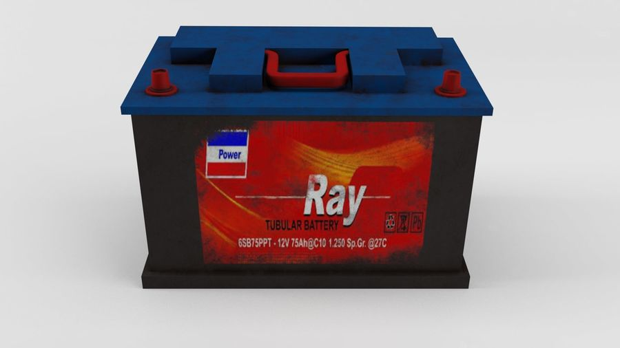 Old Car Battery royalty-free 3d model - Preview no. 4