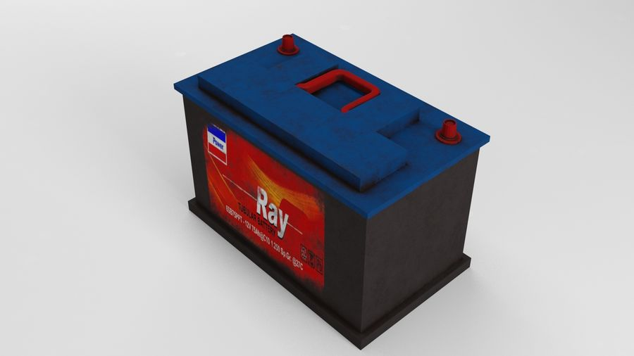 Old Car Battery royalty-free 3d model - Preview no. 3