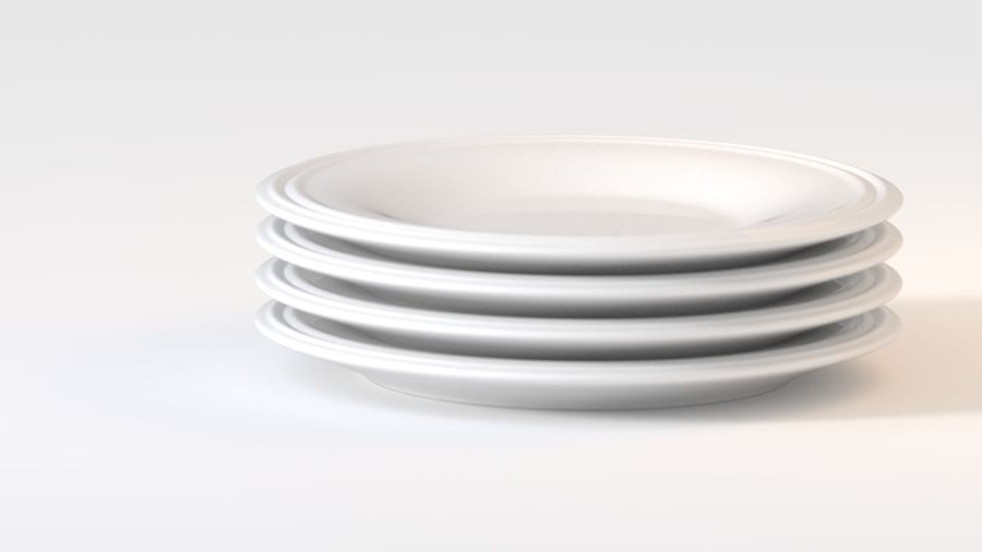 Ringed Ceramic Plate royalty-free 3d model - Preview no. 3
