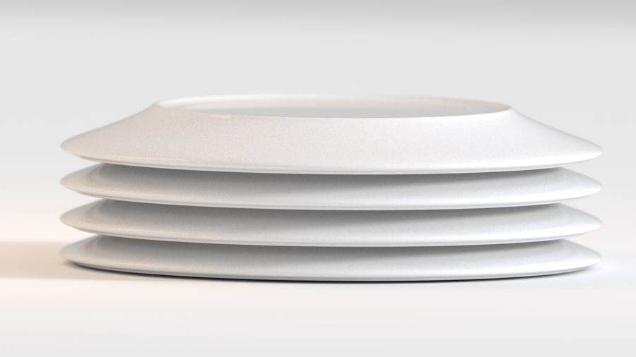 Ringed Ceramic Plate royalty-free 3d model - Preview no. 5