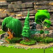 Cartoon Trees and Stones 3d model