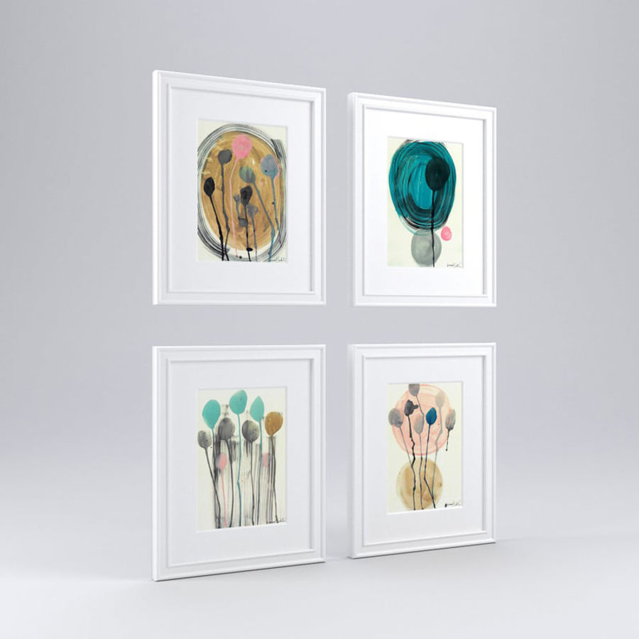 Artwork - Picture Frames Set of 4 royalty-free 3d model - Preview no. 2