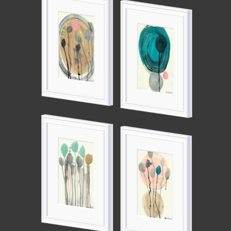 Artwork - Picture Frames Set of 4 royalty-free 3d model - Preview no. 7