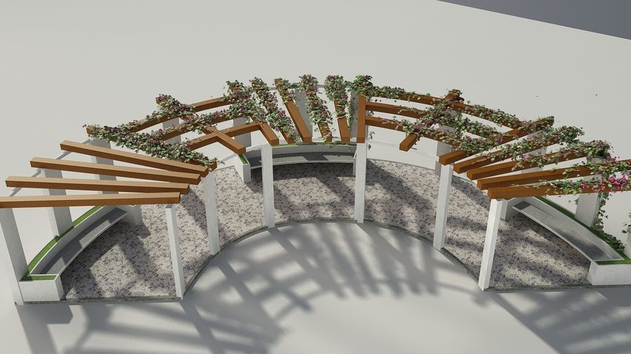 Pergola With Creepers royalty-free 3d model - Preview no. 4