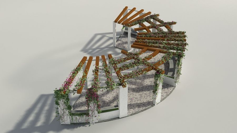 Pergola With Creepers royalty-free 3d model - Preview no. 1