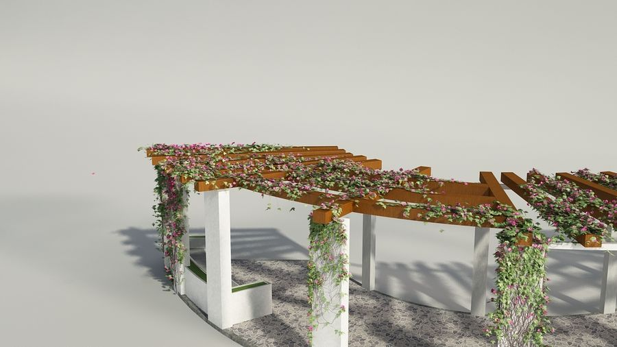 Pergola With Creepers royalty-free 3d model - Preview no. 2