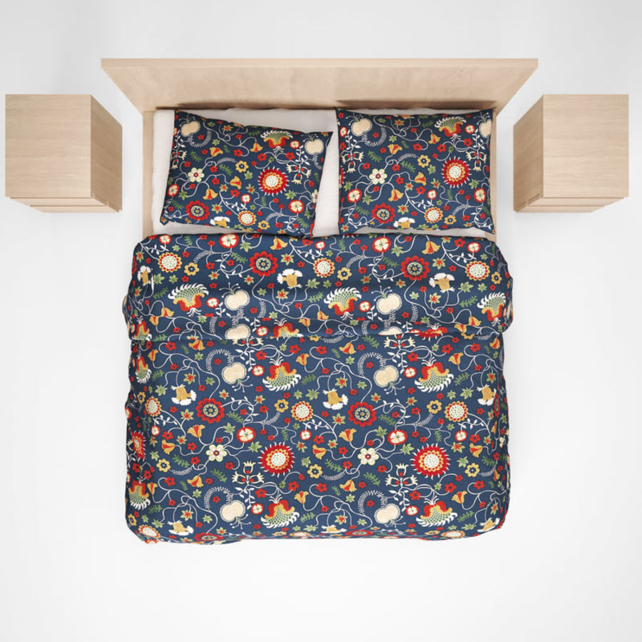 Ikea Malm bed & Rozenrps bedclothes royalty-free 3d model - Preview no. 5