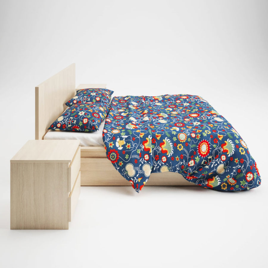 Ikea Malm bed & Rozenrps bedclothes royalty-free 3d model - Preview no. 6