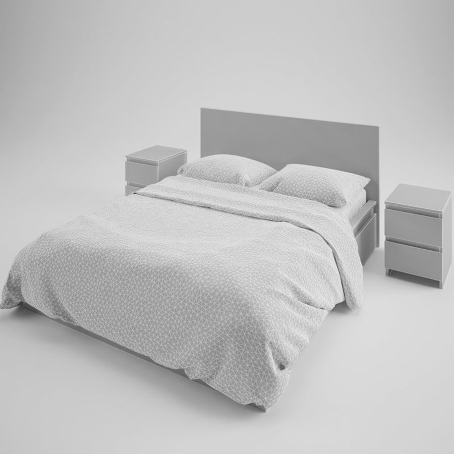 Ikea Malm bed & Rozenrps bedclothes royalty-free 3d model - Preview no. 7