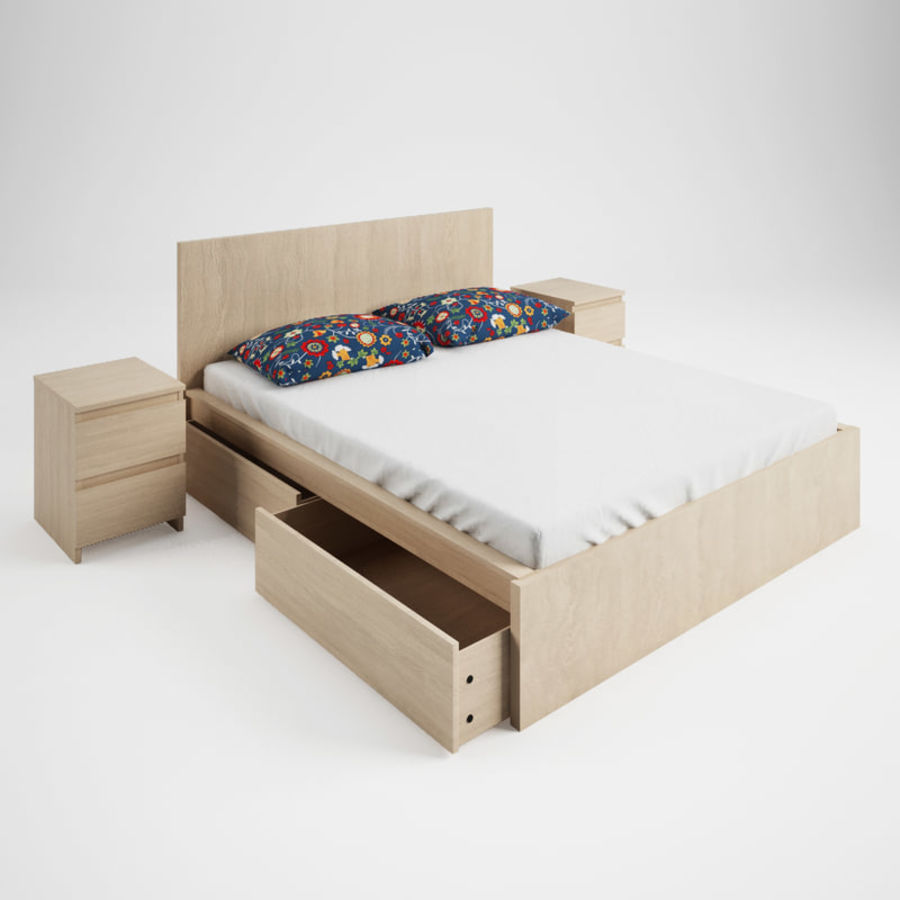 Ikea Malm bed & Rozenrps bedclothes royalty-free 3d model - Preview no. 8