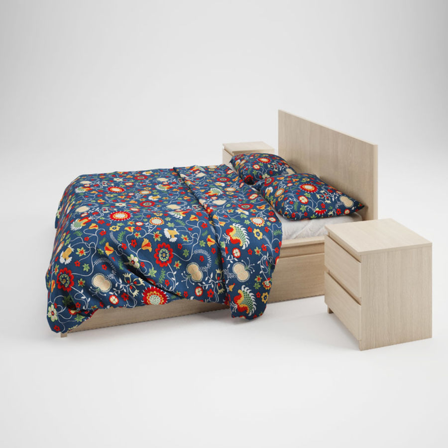 Ikea Malm bed & Rozenrps bedclothes royalty-free 3d model - Preview no. 4