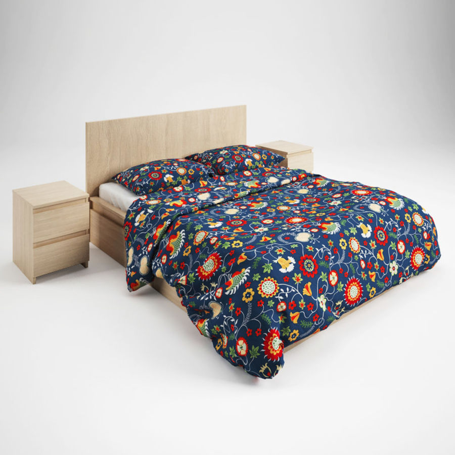 Ikea Malm bed & Rozenrps bedclothes royalty-free 3d model - Preview no. 2
