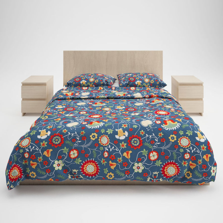 Ikea Malm bed & Rozenrps bedclothes royalty-free 3d model - Preview no. 3