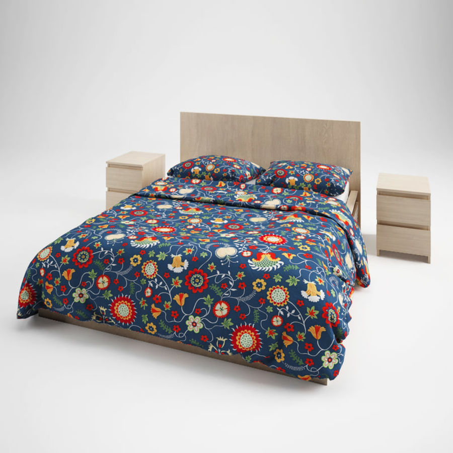 Ikea Malm bed & Rozenrps bedclothes royalty-free 3d model - Preview no. 1
