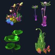 Мультфильм подводное растение 3d model