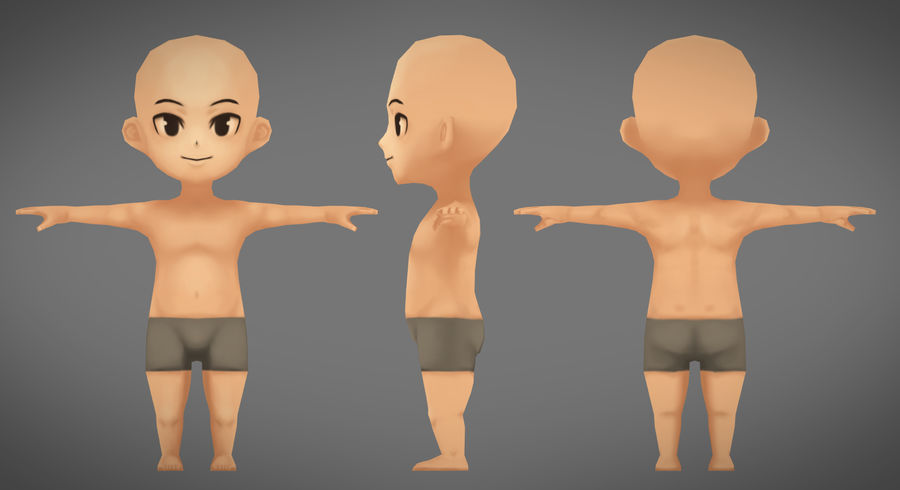 Low Poly Base Male Character Rigged royalty-free 3d model - Preview no. 2