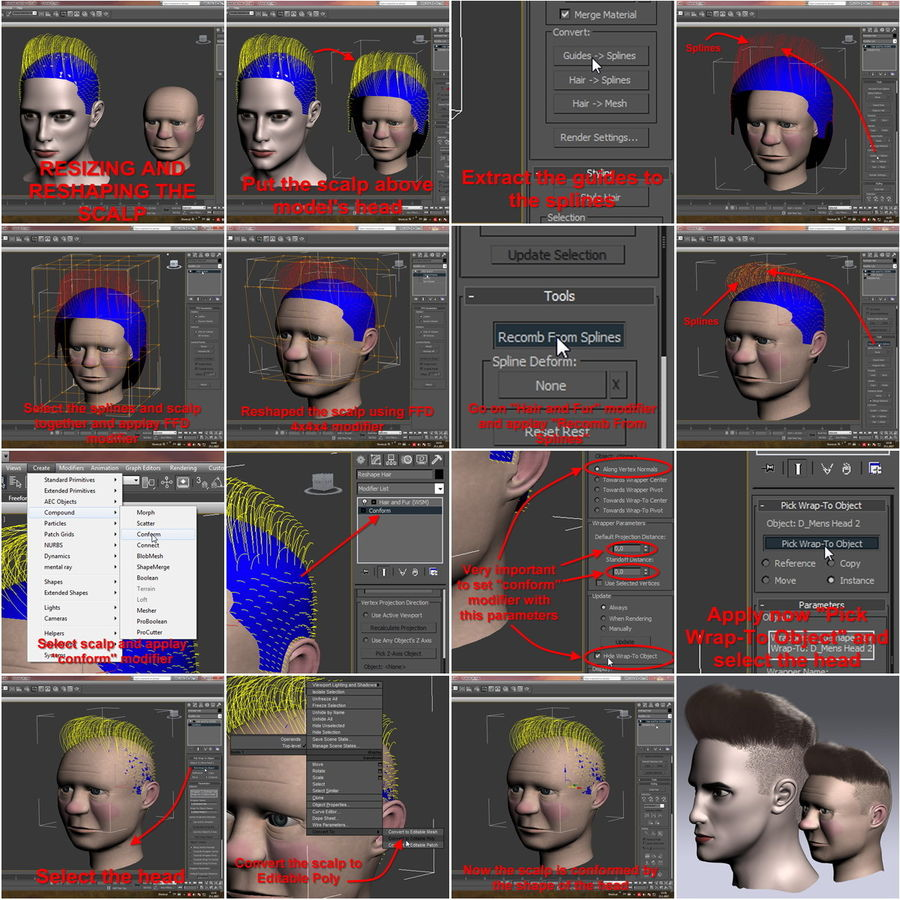 Virtual Hair 11 royalty-free 3d model - Preview no. 18