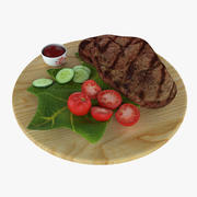 Steak and Tomatoes 3d model