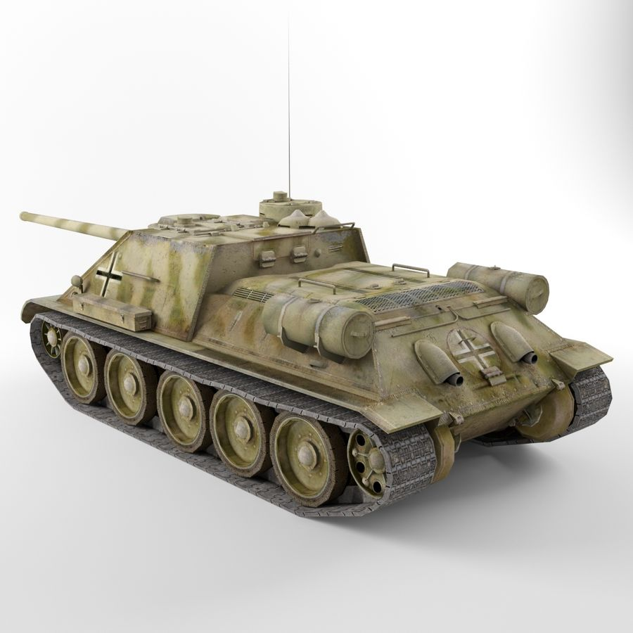 Captured Soviet tank SU-100 royalty-free 3d model - Preview no. 3